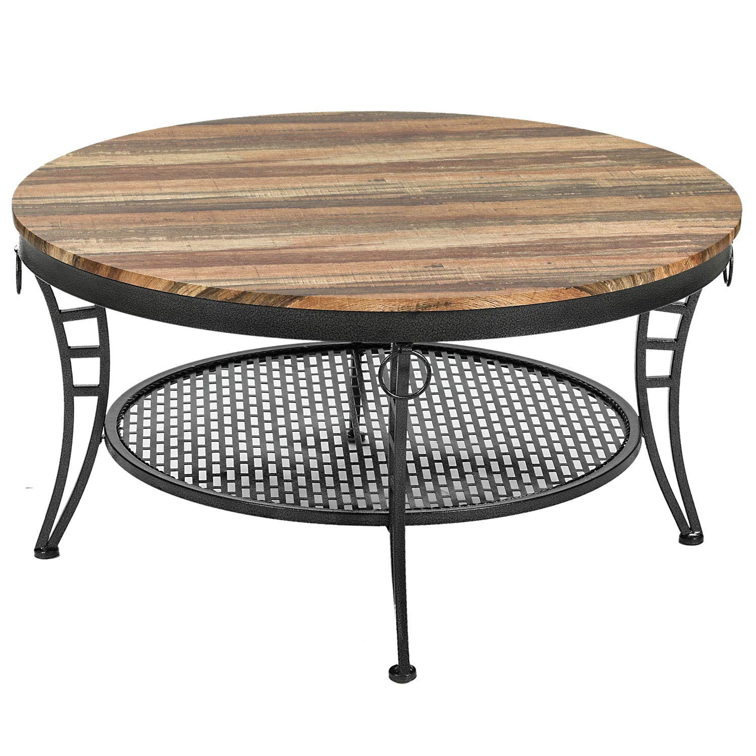 IRONCK Industrial Round Coffee Table for Living Room, Round Cocktail Table with Storage, Sturdy Curved Legs, Eco-Friendly MDF Board, Vintage Brown by IRONCK