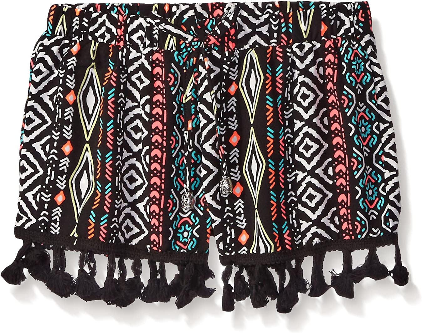My Michelle Girls Big Printed Short with Tassel Hem Detail and Elastic Waistband