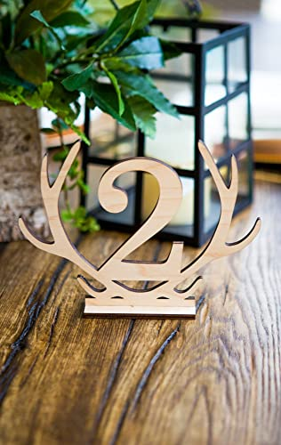 Beau Rustic Wedding Table Numbers Antler Boho Style Wooden Numbers For Table  Centerpieces Sticks Or Stands Wedding