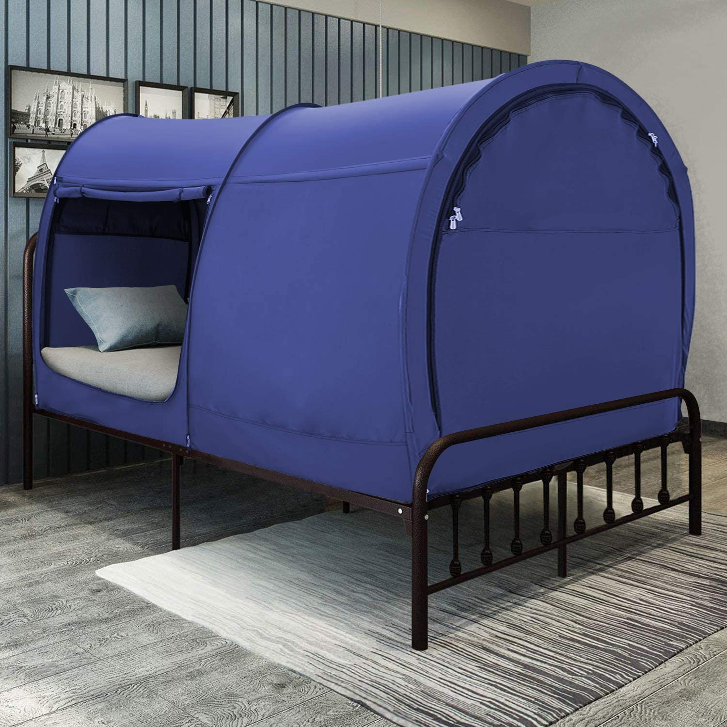 Bed Tent Dream Tents Bed Canopy Shelter Cabin Indoor Privacy Pop Up Warm Breathable Twin Size for Kids and Adult Patent Pending Blue(Mattress Not Included)