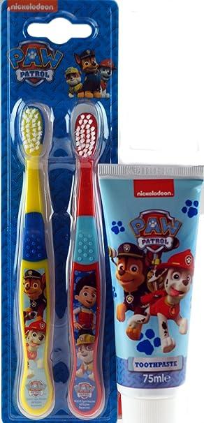 Paw Patrol Doble Cepillo dE dientes Pack y pasta de Dientes Infantil Set regalo