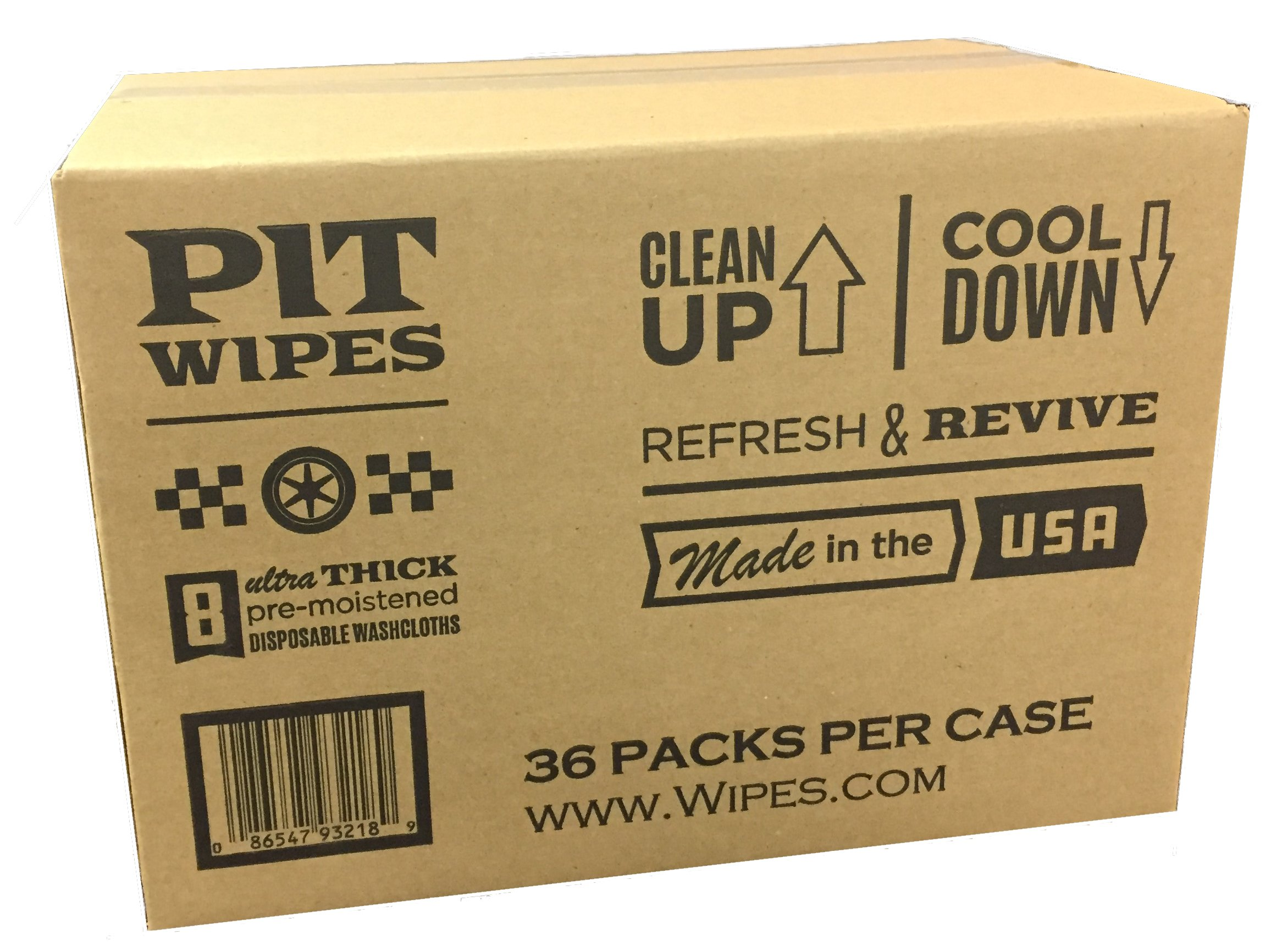 PIT WIPES Ultrathick Pre-Moistened Body Wipes, Resealable, Case of 36 Packs, 288 Total Wipes by PIT WIPES