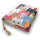 Fabric Novel Book Sleeve for Adult, Books Cover for Paperback, Cute Cats Pattern, Washable Book Protector- Padded Case…