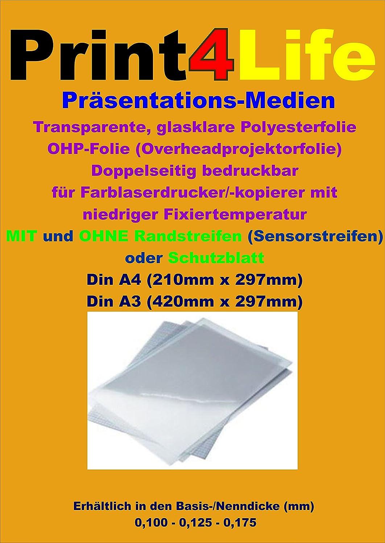 100 hojas de hoja A4 (OHP transparencias para retroproyector papel ...