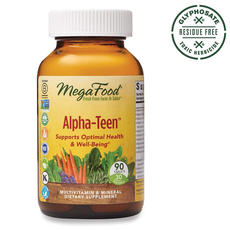 MegaFood - Alpha-Teen, Multivitamin Designed to Support Teenage Boys and Girls' Development, Growth, Bones, Teeth, Immunity, Mood, and Energy, Vegetarian, Gluten-Free, Non-GMO, 90 Tablets (FFP)