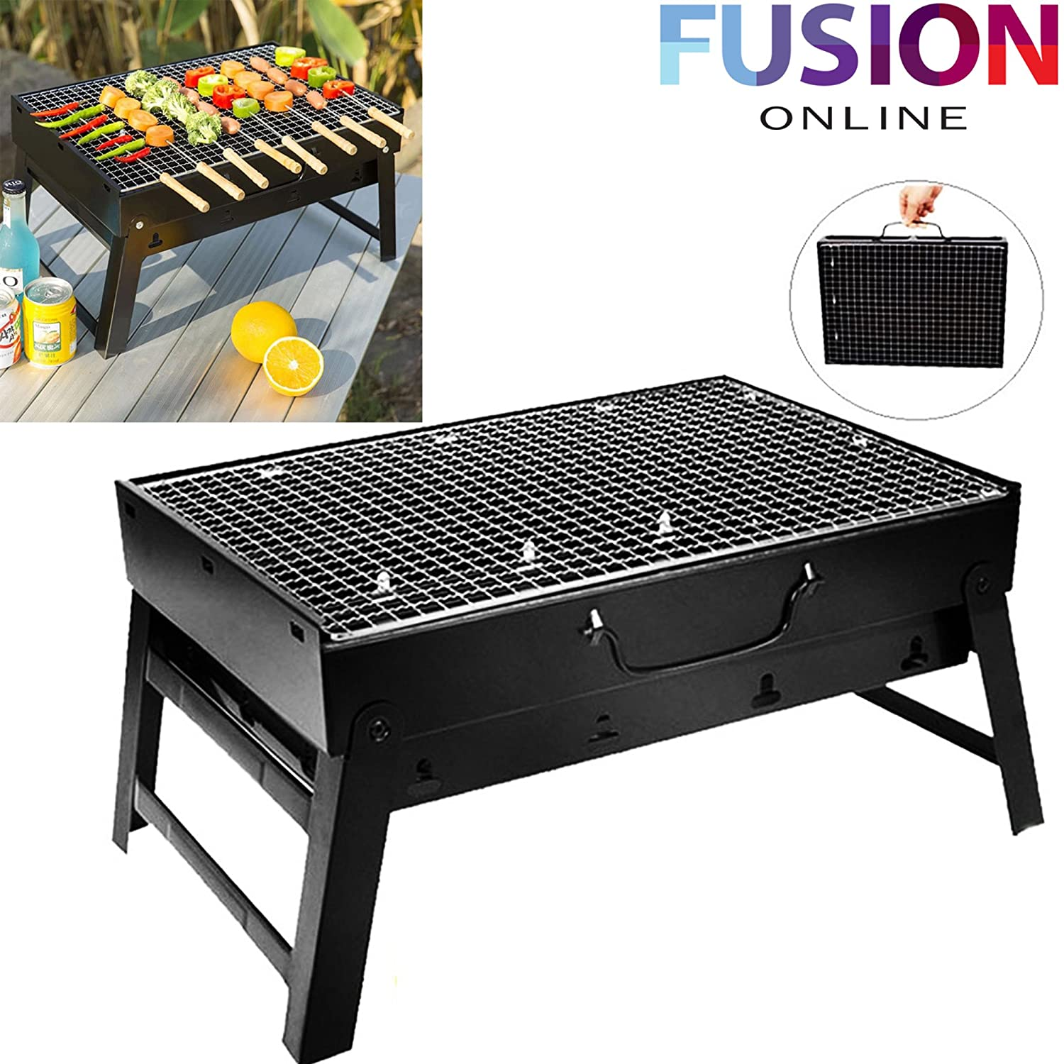 LARGE FOLDABLE STEEL BBQ BARBECUE FLAT PORTABLE CAMPING OUTDOOR GARDEN GRILL NEW Fusion Online