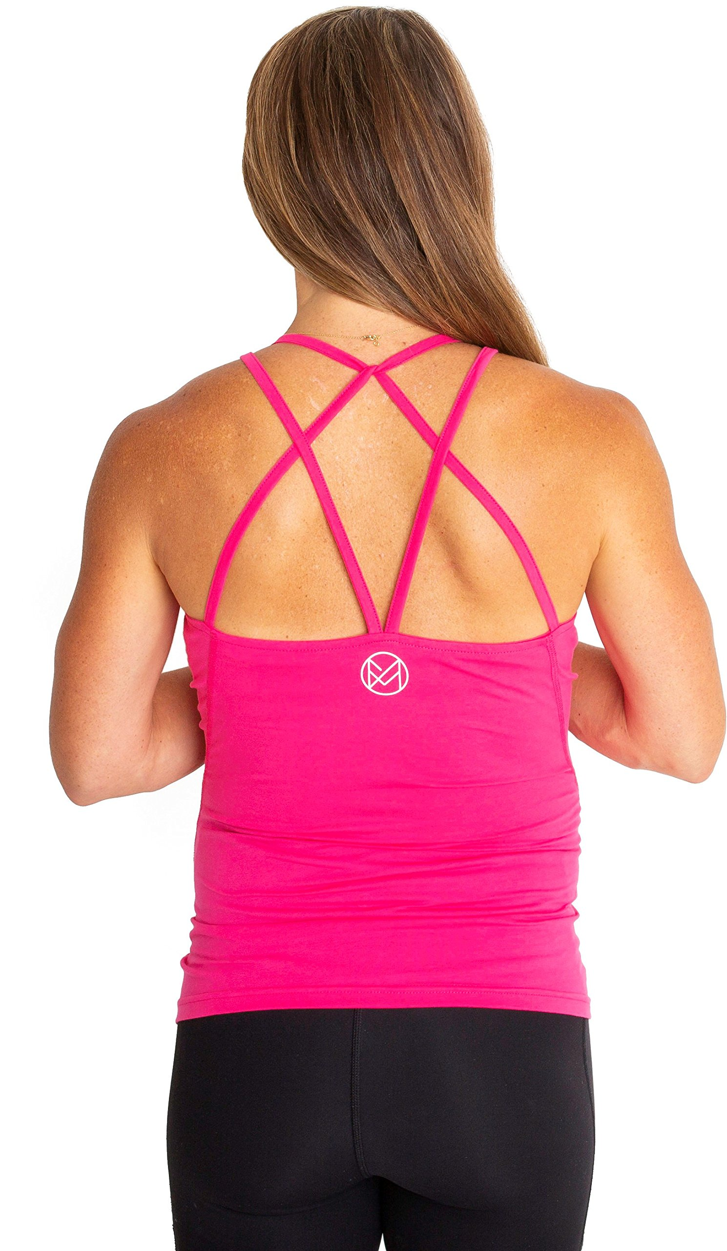 movemama Maternity to Postpartum Workout and Yoga Top with Cross Back Detail, Shelf Bra and Removable Padding (Pink, Large)