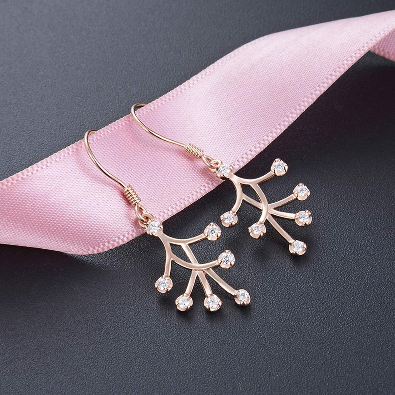 AmDxD Jewelry Sterling Silver Earring for Girls Rose Gold Round CZ Women Earrings Dangle 3.27x1.25CM