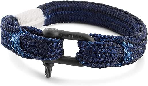 Akitsune Oceans Cuerda Náutica Schäkel Pulsera | Trenzado Schiffstau Hombres Mujeres Ancla Marítimo + Joyero - Negro-Azul 18cm: Amazon.es: Joyería