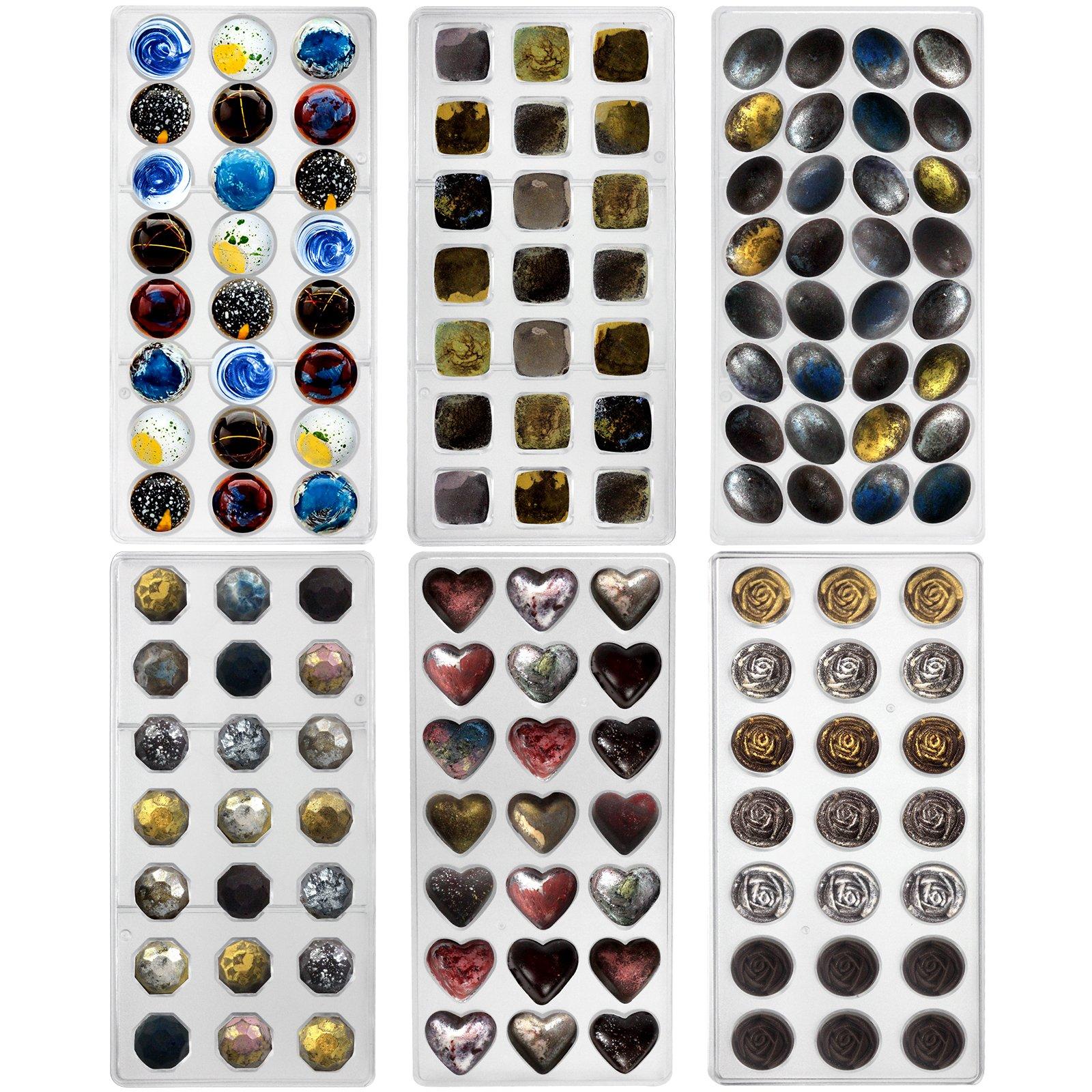 Funshowcase Rose, Heart, Dome, Diamond,Oval Shape Chocolate Mold Plastic 6-piece Set Bite Size by FUNSHOWCASE (Image #1)