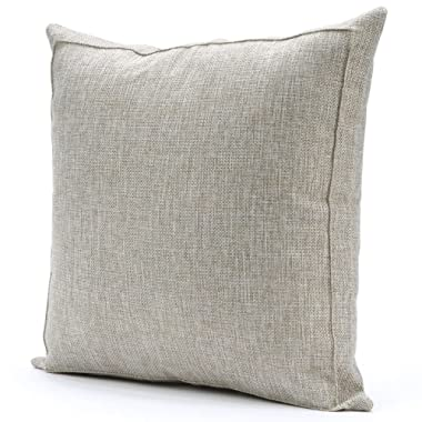 Jepeak Burlap Linen Throw Pillow Case Cushion Cover Farmhouse Decorative Solid Square Pillowcase, Thick Luxury Handmade with Invisible Zipper for Sofa Couch (16 x 16 Inches, Beige+Khaki Threads)
