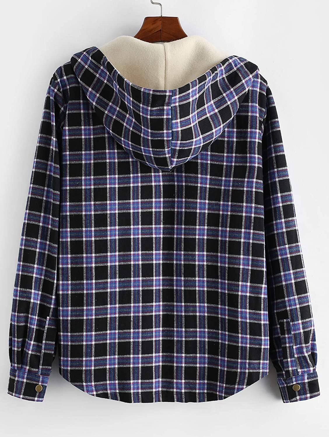 ZAFUL Mens Plaid Flannel Lined Hooded Jacket Long Sleeve Unisex Fuzzy Shirt Coat Tops