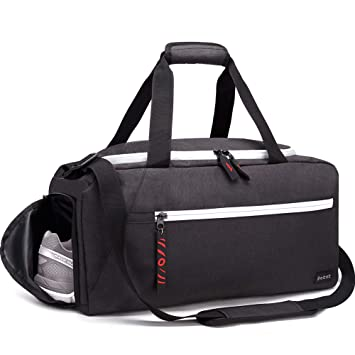 2dcd3c67e29 Amazon.com   Rotot Sport Duffle Gym Bag, Men Women Duffel with Waterproof  Shoe Pouch, Weekender Travel with a Water-resistant Insulated Pocket  (Black, ...