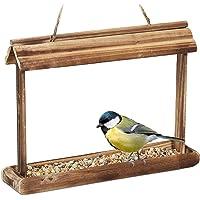 Relaxdays Drewniany domek dla ptaków, do zawieszenia, wymiary: 23,5 x 32 x 7,5 cm, ogród, dozownik karmy dla małych…