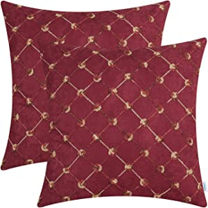 CaliTime Pack of 2 Supersoft Throw Pillow Covers Cases for Couch Bed Sofa Decor Modern Diamonds Shape Trellis Geometric Chain Embroidered 18 X 18 Inches Dark Red
