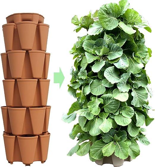 GreenStalk Macetero de jardín vertical grande patentado de 5 niveles con sistema de riego interno patentado, ideal para cultivar una variedad de fresas, verduras, hierbas, flores: Amazon.es: Jardín