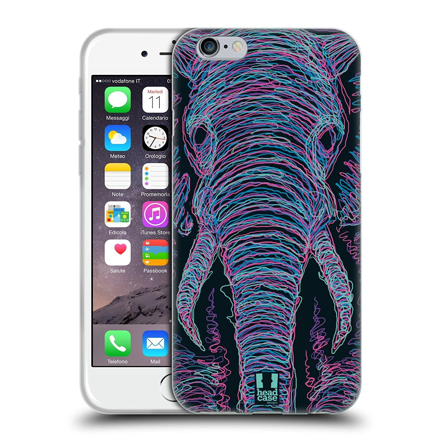 Head Case Designs Lion Scribble Animal Faces Soft Gel Case for iPhone 7 iPhone 8