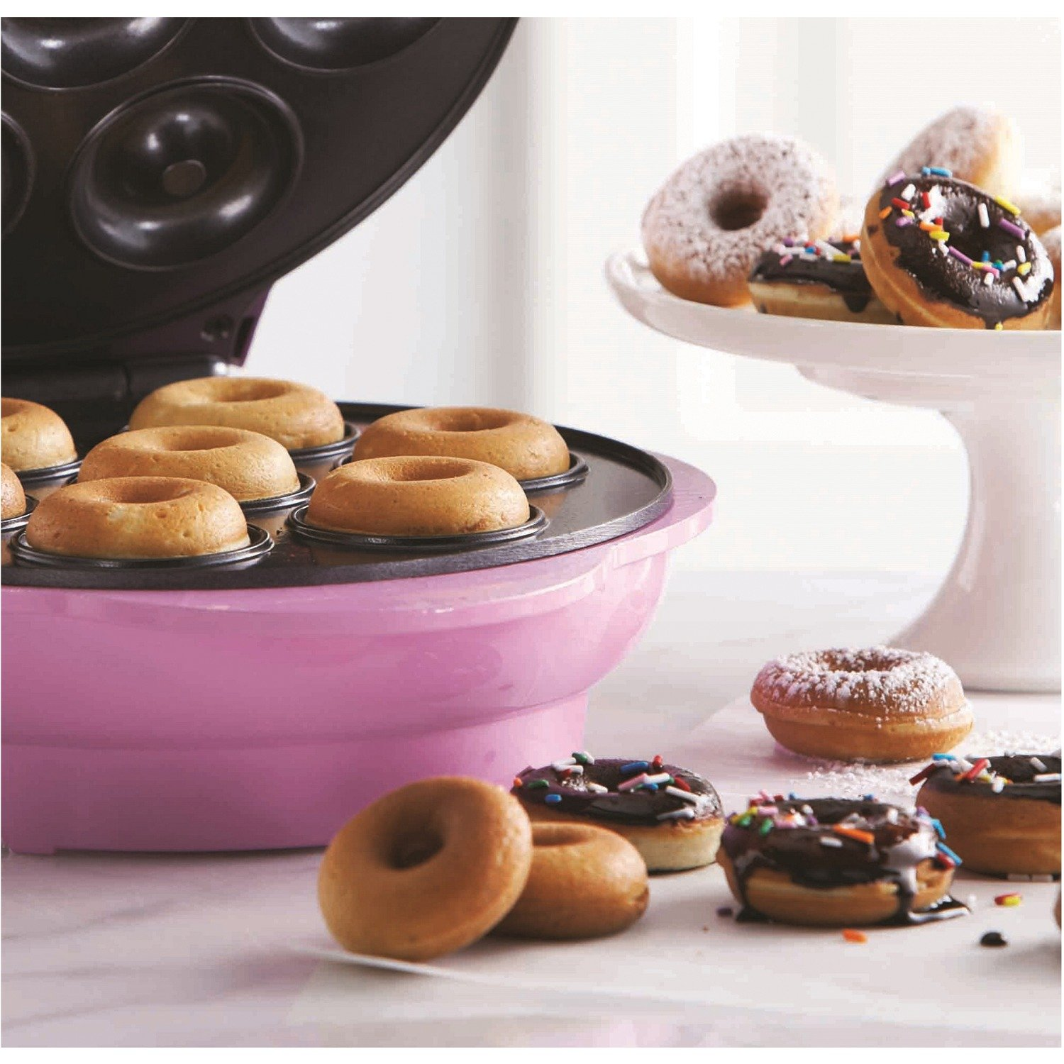 Brentwood TS-250 Non-Stick Mini Donut Maker Machine, Pink by Brentwood (Image #4)