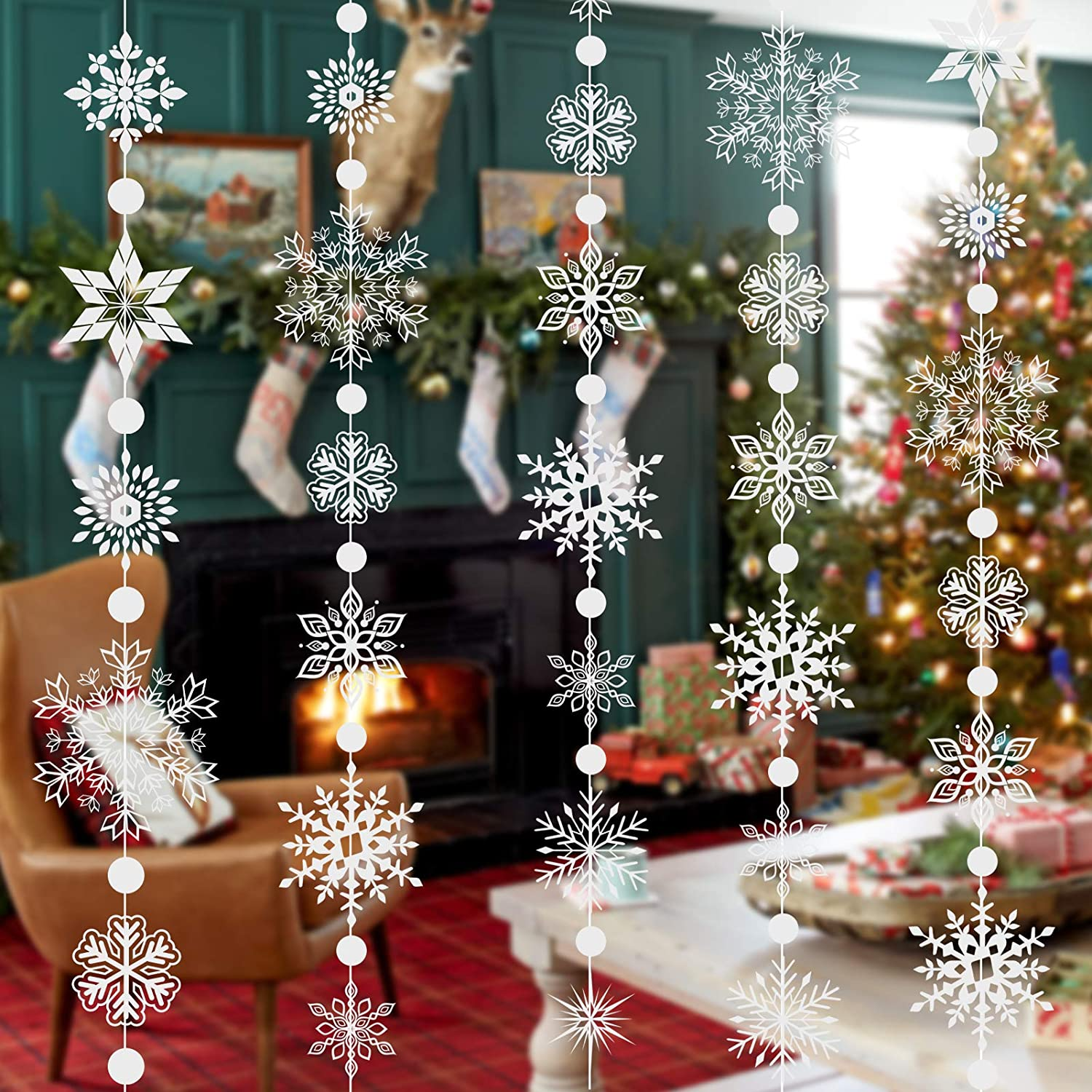 Konsait 16.4ft Winter Snowflake Hanging Garland Christmas Decoration, 20pcs 3D Snowflakes String Ornaments Garland for Christmas Winter Wonderland Holiday New Year Party Home Decorations Supplies
