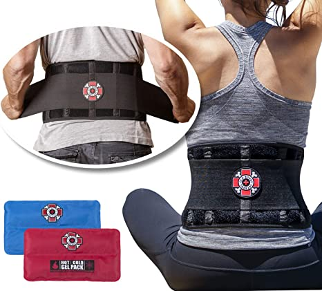 Old Bones Therapy Back Brace with Ice and Heat Packs