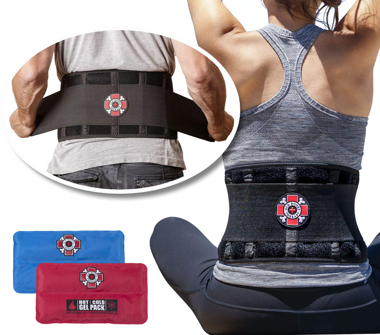 Back Brace with Ice Packs by Old Bones Therapy - Ice or Heat On The Go - Pain Relief for Lower Back Pain - Adjustable Back Support Belt + Lumbar Support for Men & Women (Back Brace + Gel Packs, XXL)