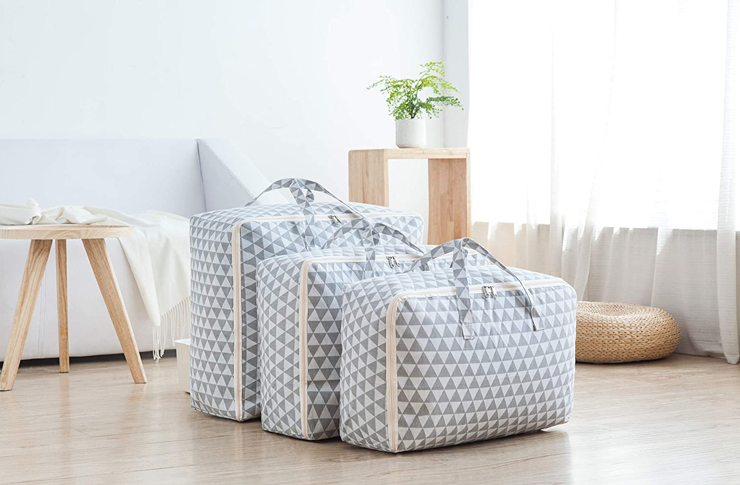 Jujin 600D Oxford Large Clothing Organizer Storage Bags Foldable Comforter Blankets Clothes Storage Bags Whale 3PCS YX-WH
