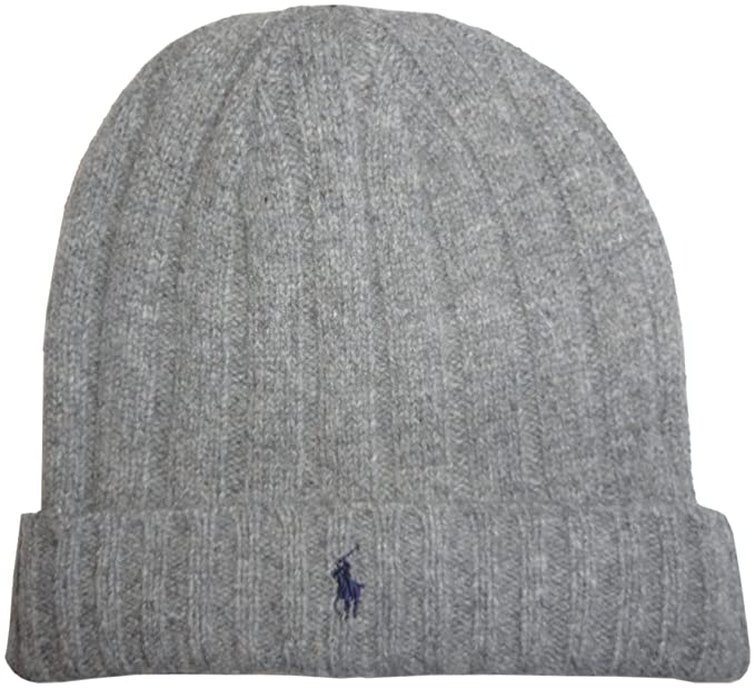 b92ed4dade4 Image Unavailable. Image not available for. Color  Men s Polo Ralph Lauren  Hat Skull Cap Lambs Wool Blend Grey with Navy Pony