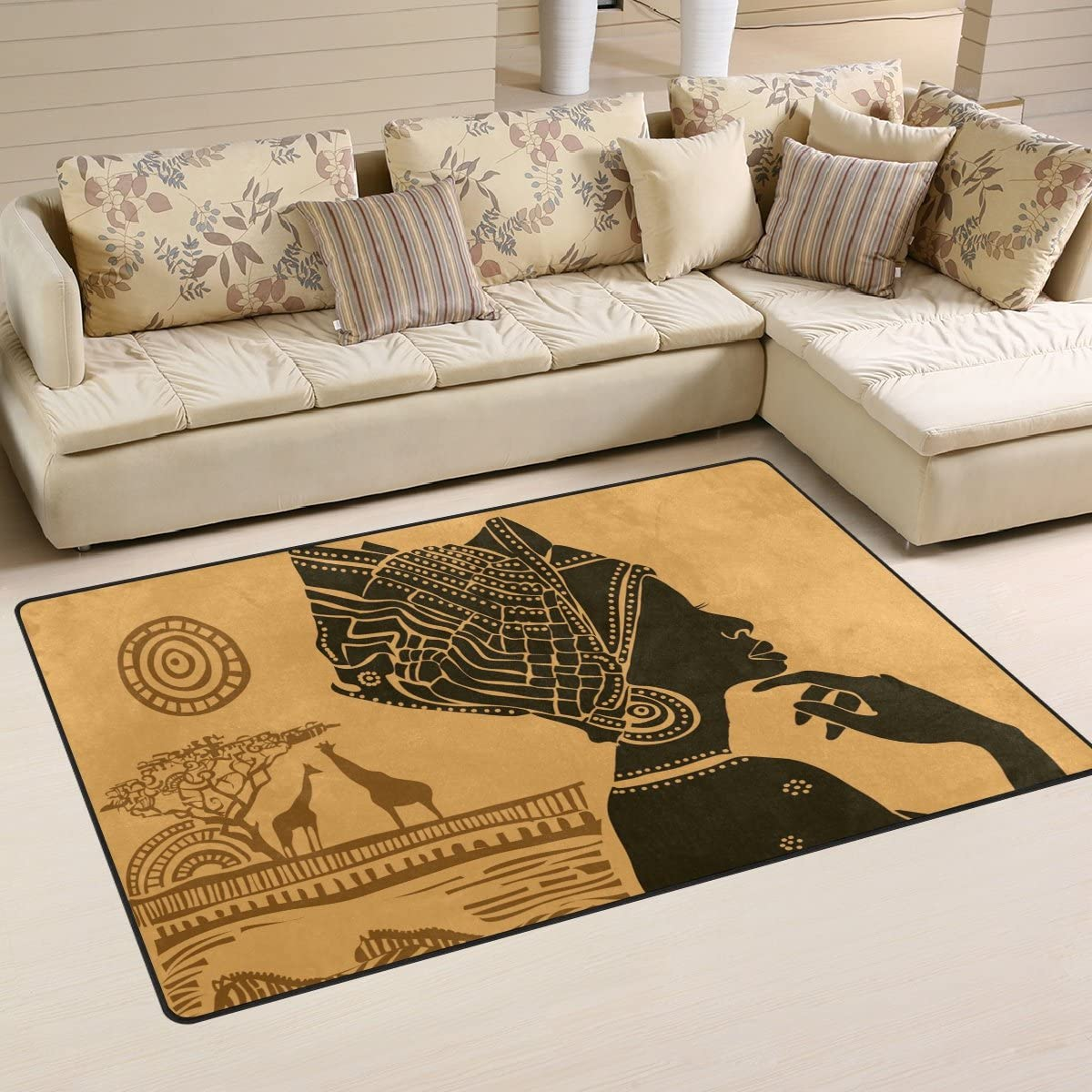 Yochoice Non-slip Area Rugs Home Decor, Vintage Retro African Black Woman Floor Mat Living Room Bedroom Carpets Doormats 60 x 39 inches