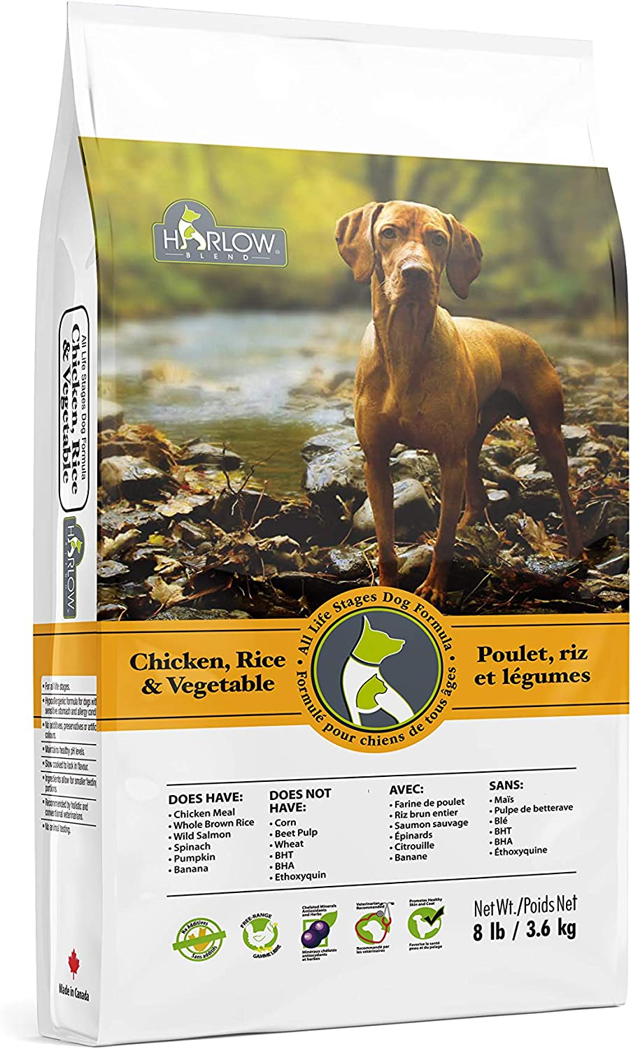 Harlow Blend All Life Stages Dog Recipe, Soy, Corn, and Wheat Free - Two Flavor Options & Sizes [Lamb and Rice & Chicken, Rice, and Vegetables]