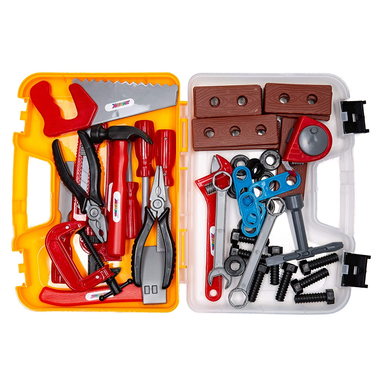 ABCZ 49 Piece Educational Kids Tool Set- Construction, Workshop, Mechanic and Power Tool Toy Kit for Kids Pretend Play with Realistic Tools and Easy-to-Carry Storage Tool Box