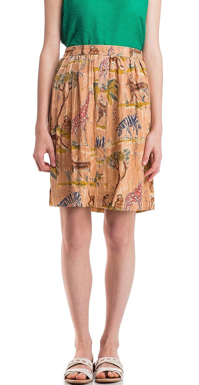 Pepaloves Womens Khaki Safari Print Front Button Skirt