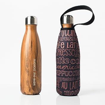 BBBYO - Botella de agua de acero inoxidable con aislamiento de doble pared + funda protectora