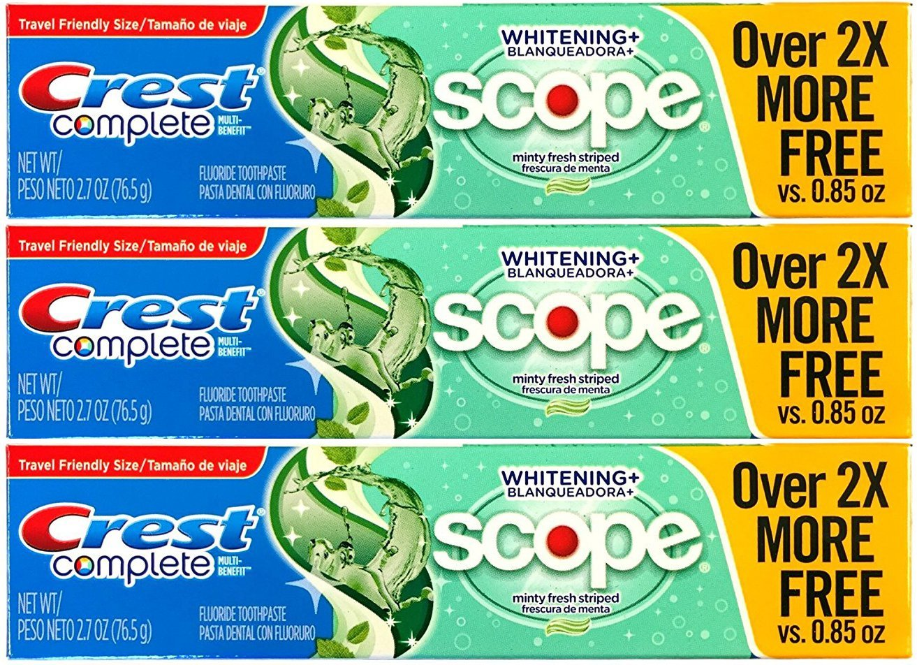 Crest Complete Multi-Benefit Whitening + Scope Minty Fresh Flavor Toothpaste 2.7 Oz, Pack of 3