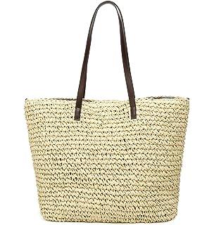 4d1d1aeb7f Obosoyo Women s Classic Straw Handbag Summer Beach Sea Shoulder Bag Large  Tote
