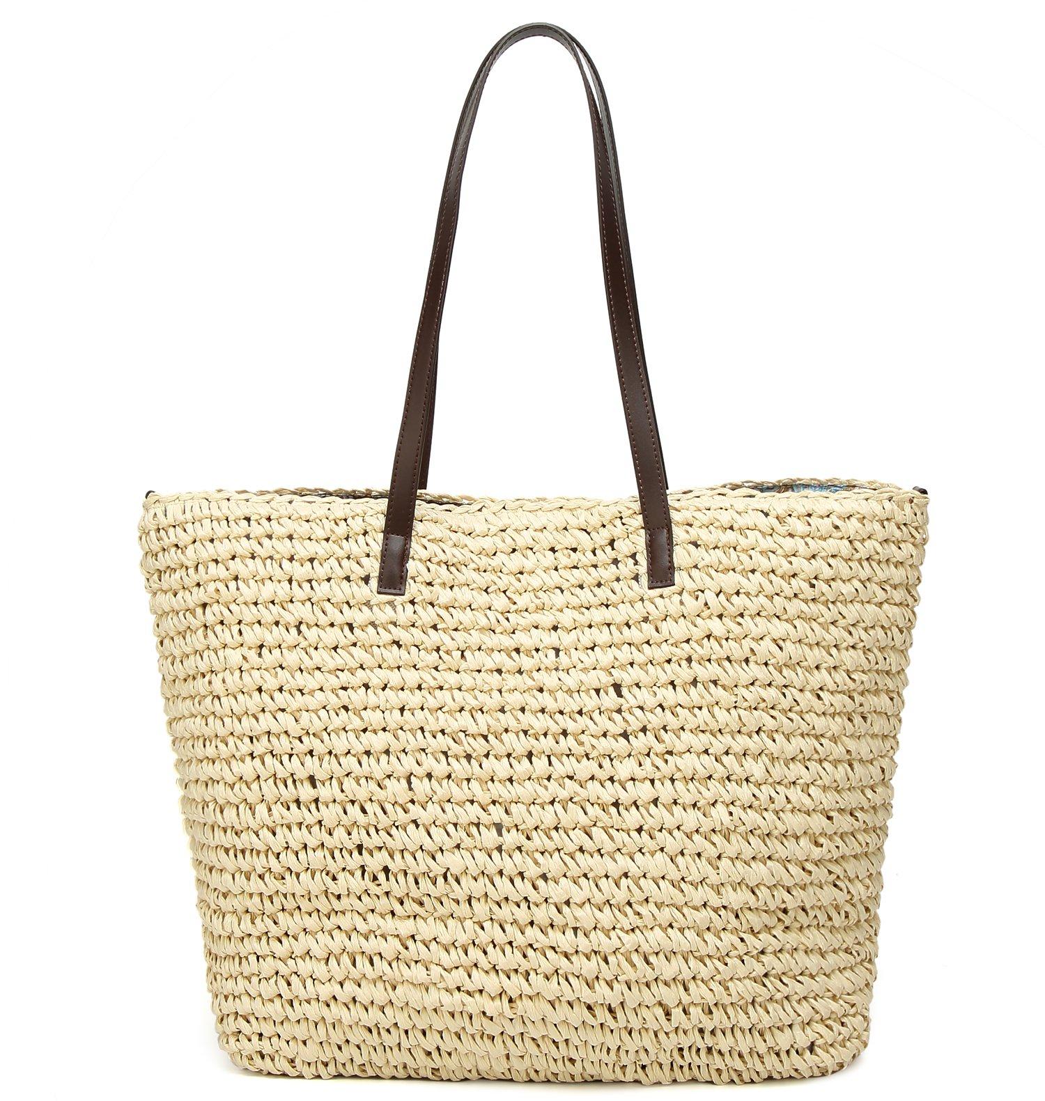 Obosoyo Women's Classic Straw Handbag Summer Beach Sea Shoulder Bag Large Tote (Beige1)