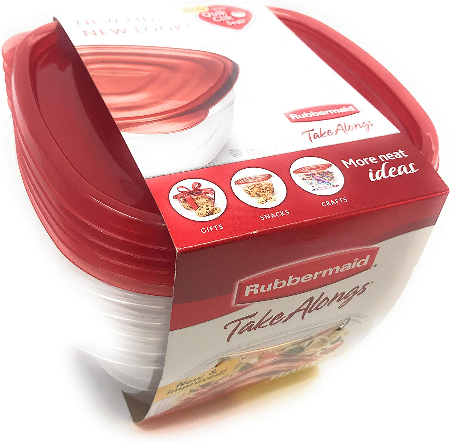 Rubbermaid TakeAlongs Food Storage Container, Square, Deep, Set of 5, 5.2cup 42oz