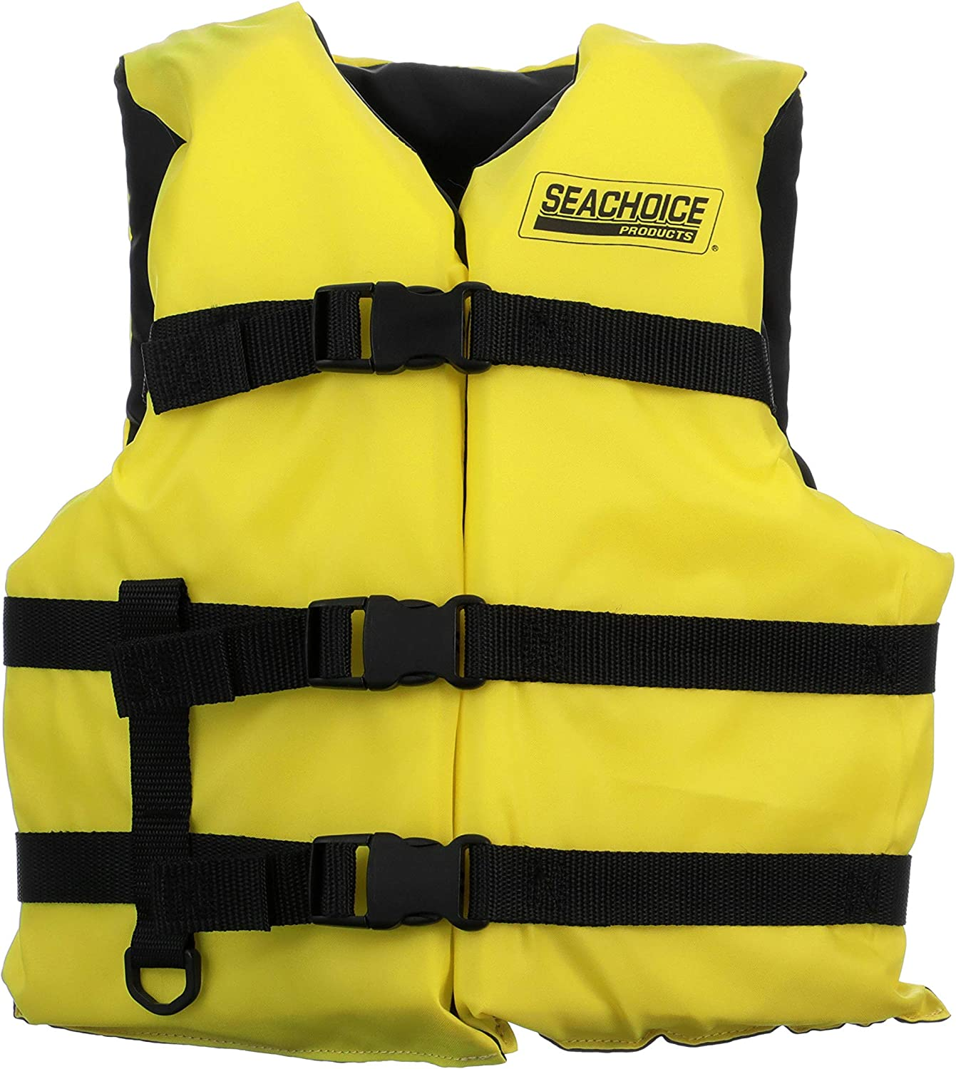 Amazon Com Seachoice 86520 Type Iii Life Jacket Adjustable General Purpose Vest Bright Yellow Youth 50 To 90 Pounds Boating Equipment Sports Outdoors