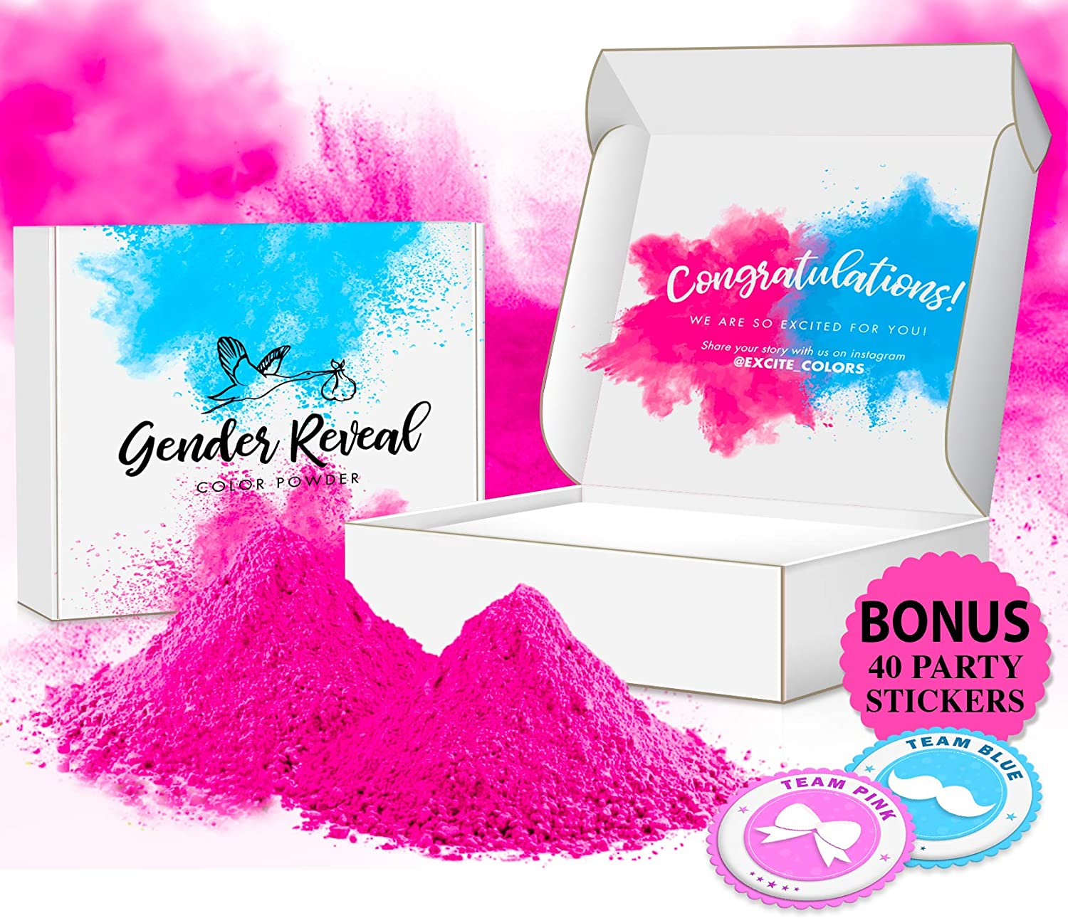 Excite Colors - Gender Reveal Powder | Car Burnout Tire Pack | Exhaust Smoke Kit | 2lb Pink