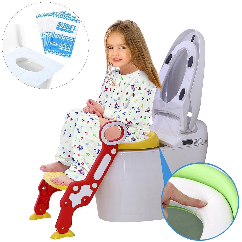 Toilettentrainer WC für Kinder mit Klapptritt, kann gefaltet werden gelb Meteor