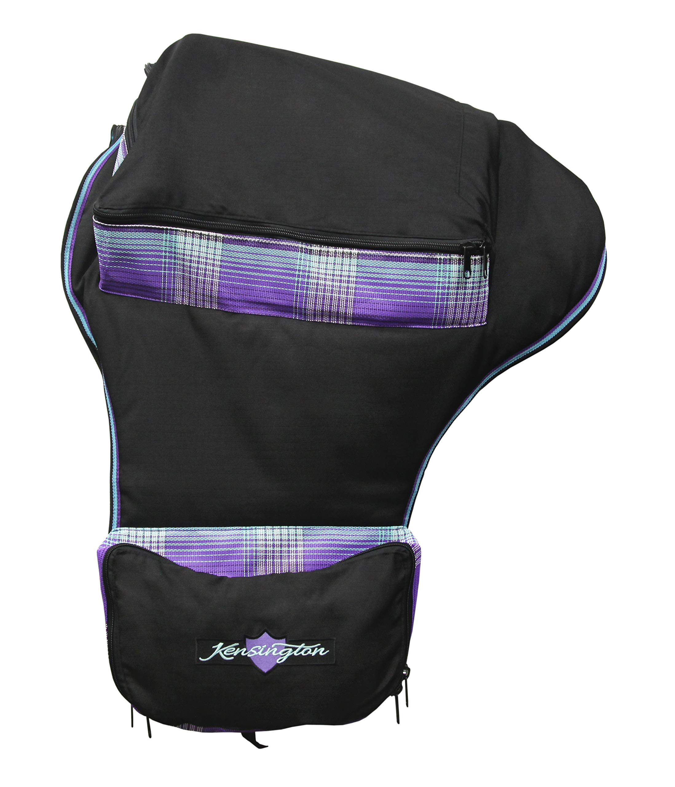 Kensington Signature Western Saddle Carry Bag - Protection for Biggest of Saddles, Extra Side Pockets, A Large Pocket on Top for Storage, Mesh Allows Airflow, Prevents Mold Mildew, Lavender Mint Plaid