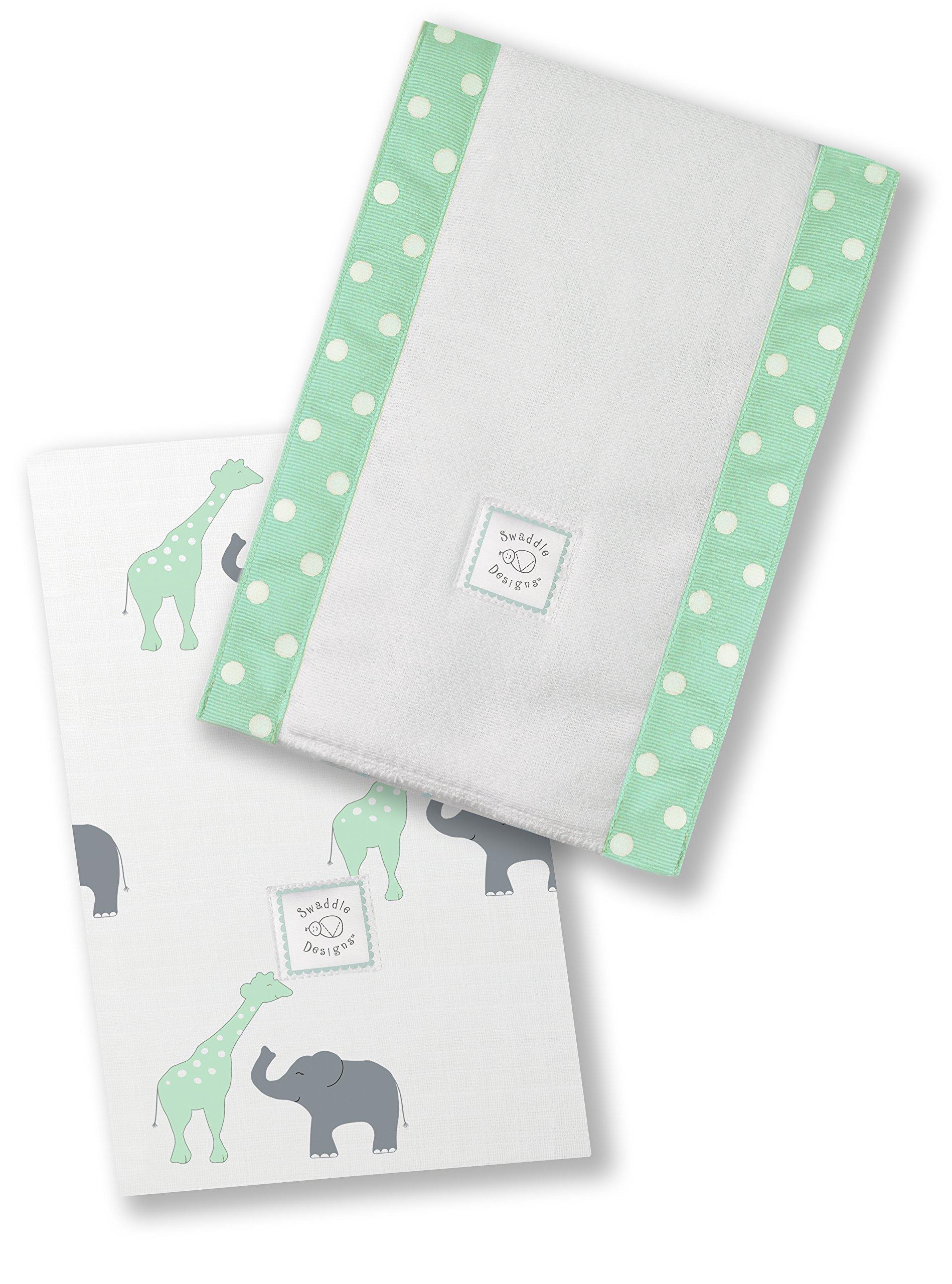 SwaddleDesigns Baby Burpies, Set of 2 Cotton Burp Cloths, SeaCrystal Safari Fun