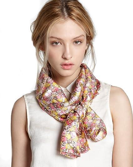 970c87cc27c7 Charlotte Sparre Copenhagen Pink Skull Confetti Silk Scarf Wrap  Amazon.in   Clothing   Accessories