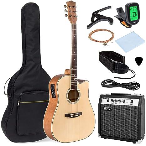 Best Choice Products juego de instrumentos musicales para guitarra acústica eléctrica de madera de tamaño completo ...