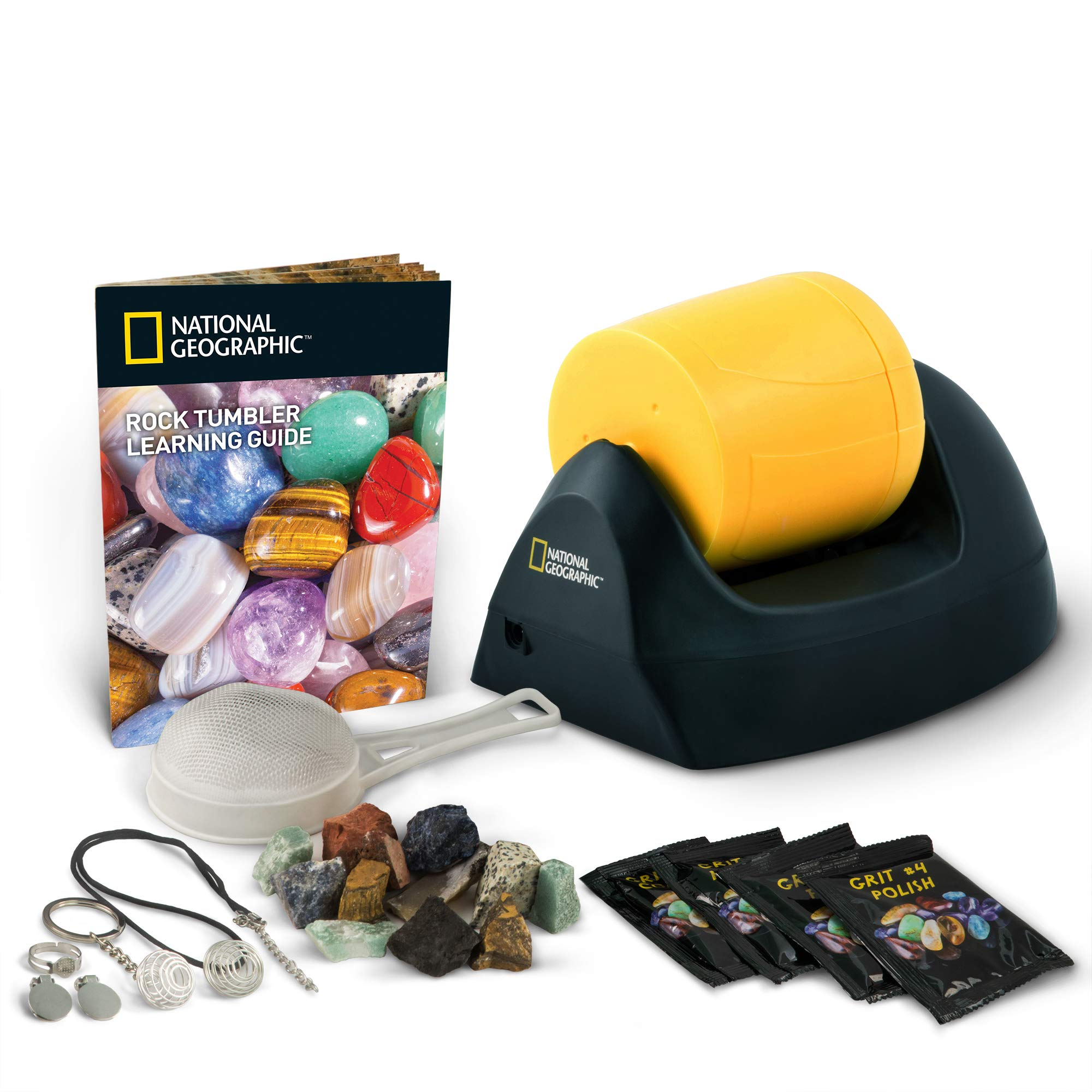NATIONAL GEOGRAPHIC Starter Rock Tumbler Kit-Includes Rough Gemstones, 4 Polishing Grits, Jewelry Fastenings & Detailed Learning Guide - Great Stem Science Kit For Mineralogy & Geology Enthusiasts by NATIONAL GEOGRAPHIC