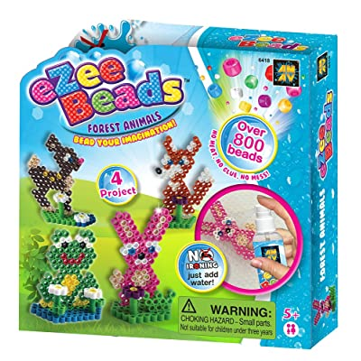 AMAV Toys eZee Beads Kit with Over 800 Water Beads - Make Your Own Forest Animals Beads Creations - Best DIY Craft for Kids - Easy & Safe to Use - No Ironing Required - Perfect Activity for Kids Aged: Toys & Games