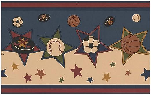 Norwall Frontera del papel pintado - Diseño retro del balón de ...
