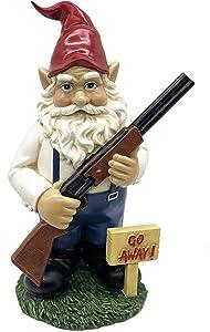 FICITI Gnome with Rifle Garden Statue, Go Away Lawn Gnome, Funny Gnome, Angry Gnome Garden Decoration - 10.5 Inches