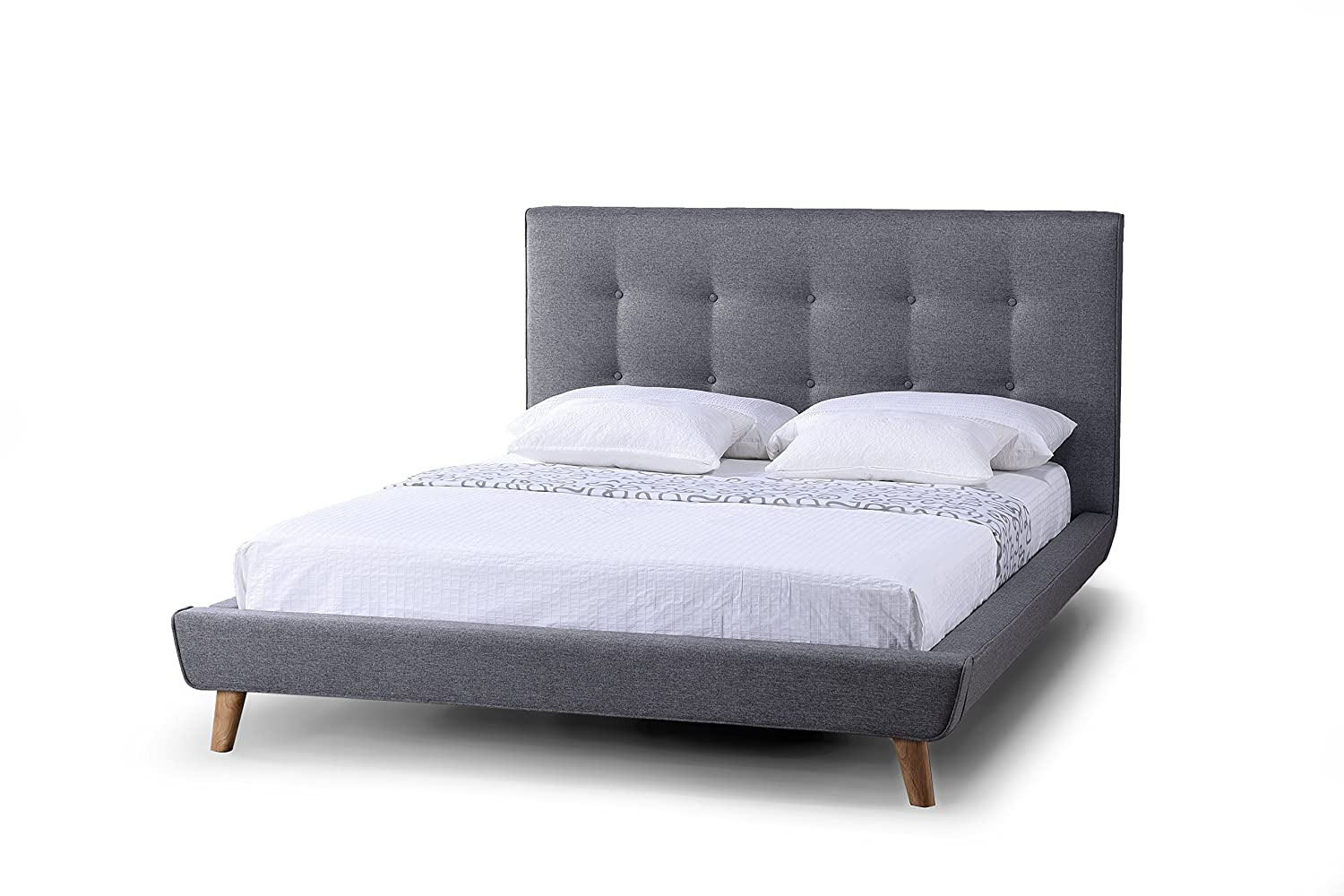factory price 9272b dddb9 Baxton Studio Jonesy Scandinavian Style Mid Century Fabric Upholstered  Platform Bed, Queen, Grey
