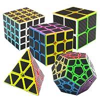 Nitrocubes Speed Cube Set 5 Pack Carbon Fibre Rubix Cubes 2x2 3x3 4x4 Pyraminx Megaminx