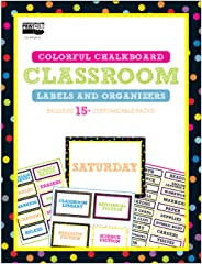 Colorful Chalkboard Printable Classroom Labels and Organizers